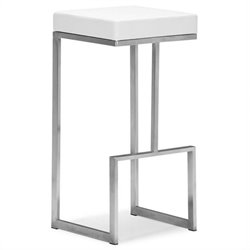 Brika Home Modern Leatherette Bar Chair in White