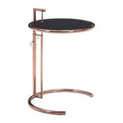 Brika Home Glass End Table in Rose Gold