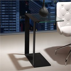 Brika Home Modern Tempered Glass Side Table in Black