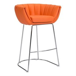 Brika Home Faux Leather Bar Stool in Orange
