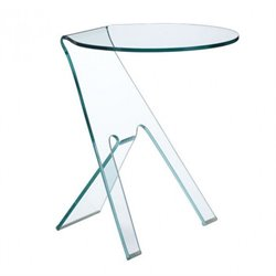Brika Home Modern Tempered Glass Side Table in Tempered Glass