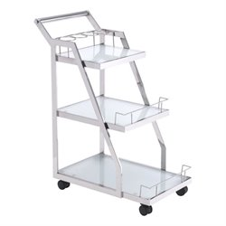 Brika Home Glass Kitchen Cart