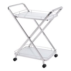 Brika Home Glass Kitchen Cart 2