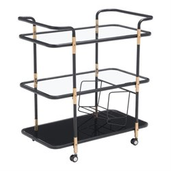 Brika Home Glass Kitchen Cart in Black and Gold