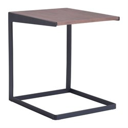 Brika Home End Table in Walnut and Black