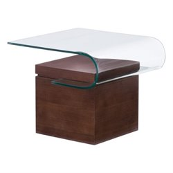 Brika Home Glass End Table in Walnut