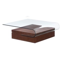 Brika Home Glass Coffee Table in Walnut