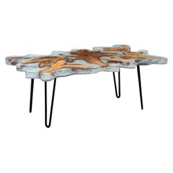 Brika Home Glass Coffee Table in Gray