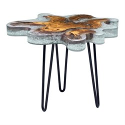 Brika Home Glass End Table in Gray