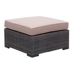 Brika Home Outdoor Ottoman in Brown