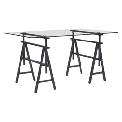 Brika Home Glass Top Desk in Antique Black