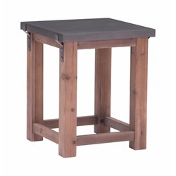 Brika Home End Table in Gray and Distressed Fir