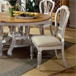 Bowery Hill Fabric  Dining Chair in Antique White (Set of 2)