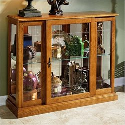 Bowery Hill Golden Oak III Console Curio Display Cabinet