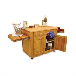 Bowery Hill Mobile Butcher Block Kitchen Cart in Natural Finish