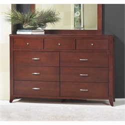 Bowery Hill 9 Drawer Double Dresser in Cinnamon