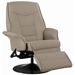 Bowery Hill Faux Leather Swivel Recliner Chair in Bone Finish