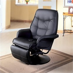 Bowery Hill Faux Leather Swivel Recliner Chair in Black
