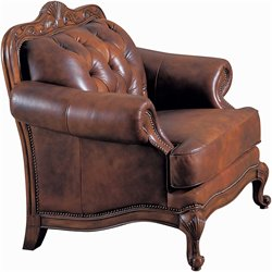 Bowery Hill Classic Tufted Leather Arm Chair in Brown
