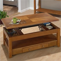 Bowery Hill Wood Lift-Top Coffee Table in Oak