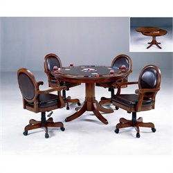 Bowery Hill 5 Piece Poker Table Set in Cherry Finish