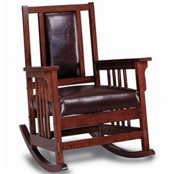Bowery Hill Mission Style Wood Rocker with Leather Match Seat and Back