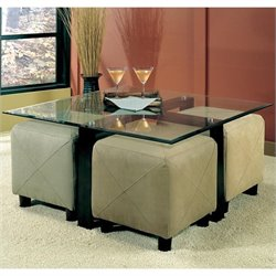 Bowery Hill Contemporary Square Black Metal Base Glass Top Cocktail Table