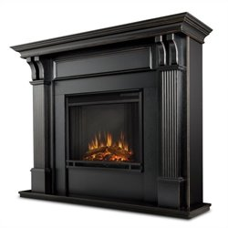 Bowery Hill Electric Fireplace in Blackwash Finish