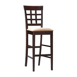 MER-757 Bowery Hill Wheat Back Stool with Fabric Seat in Cappuccino