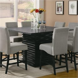 Bowery Hill Contemporary Square Counter Height Dining Table in Black Finish