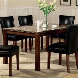 Bowery Hill Marble Top Rectangular Dining Table in Brown