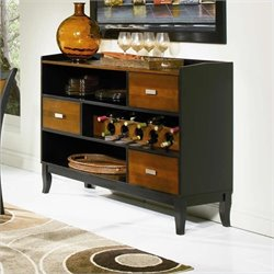 Bowery Hill 3 Drawer Wine Rack Buffet Server in Cherry and Black