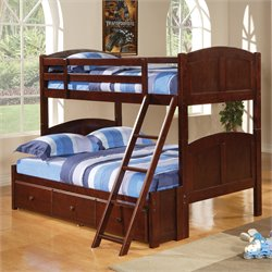 Bowery Hill Twin over Full Bunk Bed in Cappuccino Finish