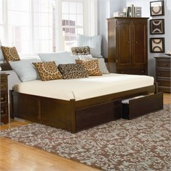 Bowery Hill Flat Panel Wood Twin Daybed in Antique Walnut