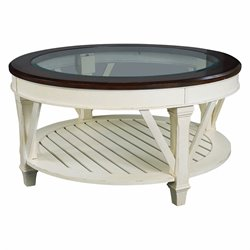 Bowery Hill Round Cocktail Table in Fruitwood Antique Linen