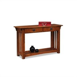 Bowery Hill Mission Console Table with Drawers and Shelf in Oak