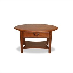 Bowery Hill Shaker Oval Coffee Table in Medium Oak Finish