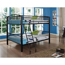 Bowery Hill Heavy Metal Full Over Full Bunk Bed in Black