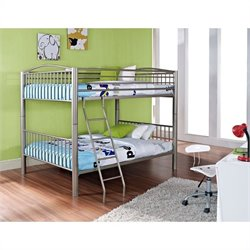 Bowery Hill Heavy Metal Full Over Full Bunk Bed in Pewter