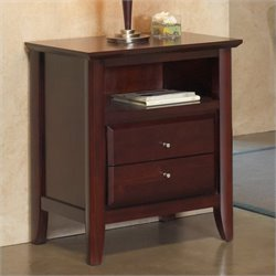 Bowery Hill Charging Station Two Drawer Nightstand in Coco