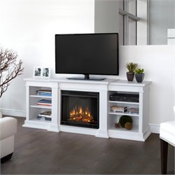 Bowery Hill Electric Fireplace TV Stand in White