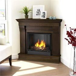 Bowery Hill Gel Corner Fireplace in Dark Walnut Finish