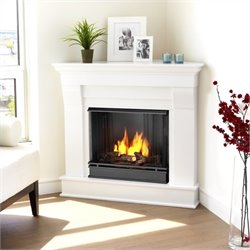Bowery Hill Gel Corner Fireplace in White Finish