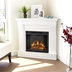 Bowery Hill Electric Corner Fireplace in White Finish