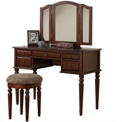 Bowery Hill Vanity Set with Stool in Cherry