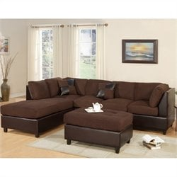 Bowery Hill Microfiber 3 Piece Sectional in Chocolate
