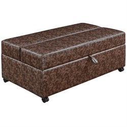 Bowery Hill Storage Bench with Fold Out Sleeper and Casters in Brown