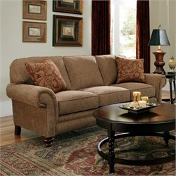 Bowery Hill Brown Queen Goodnight Sleeper Sofa with Cherry Wood Finish