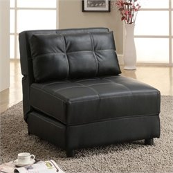 Bowery Hill Faux Leather Convertible Chair in Black