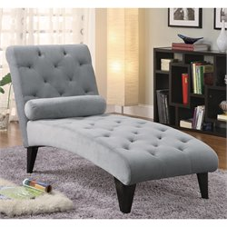 Bowery Hill Accent Seating Soft Gray Velour Tufted Chaise in Black Finish
